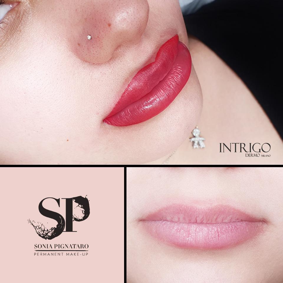Labbra realizzate con la tecnica aquarelle lips.