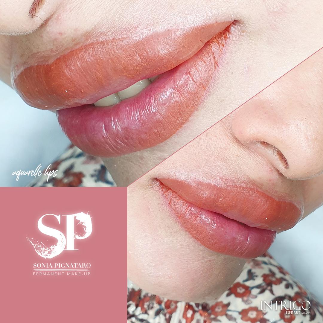 Aquarelle lips, labbra realizzate con il trucco permanente da Sonia Pignataro