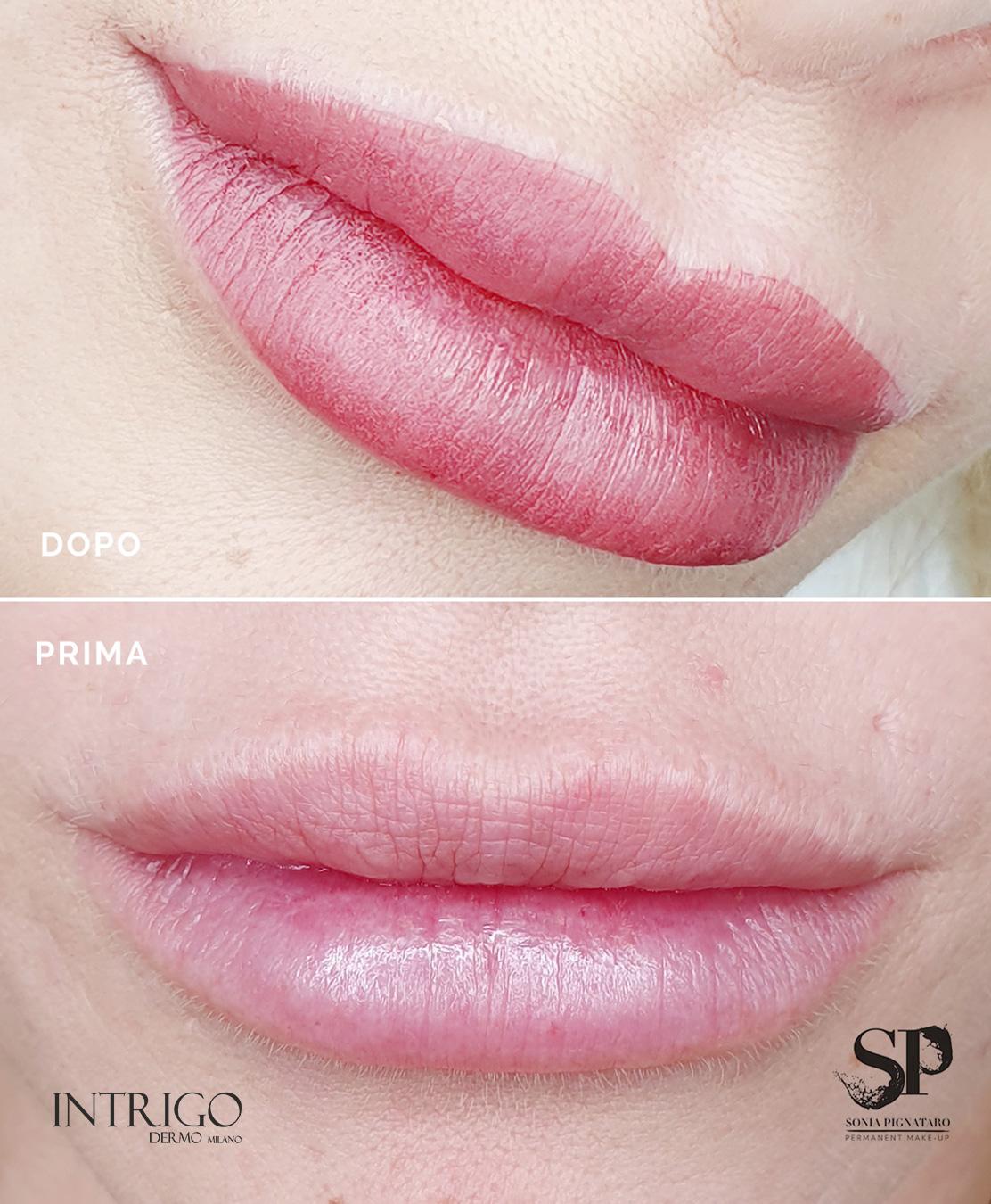 labbra realizzate con il trucco permanente